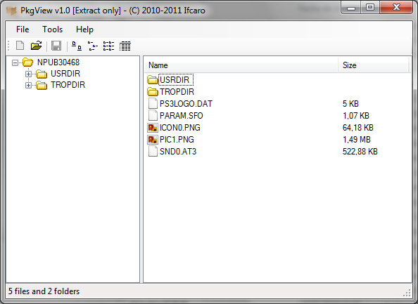 PkgView v1.1 released — extract the content of PKG files
