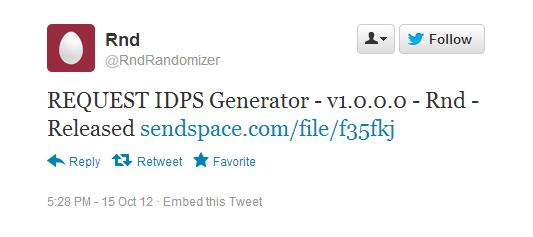 REQUEST IDPS Generator – v1.0.0.0 – Rnd: