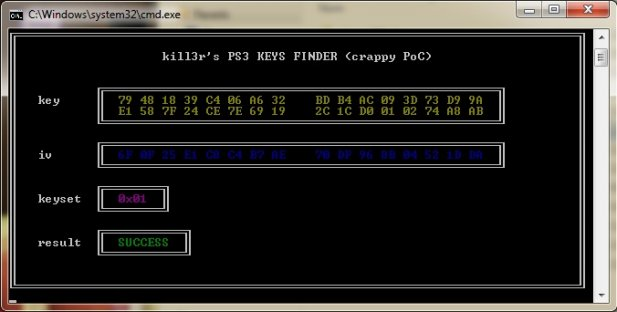 PS3 Keys finder tool from Kill3r: POC.