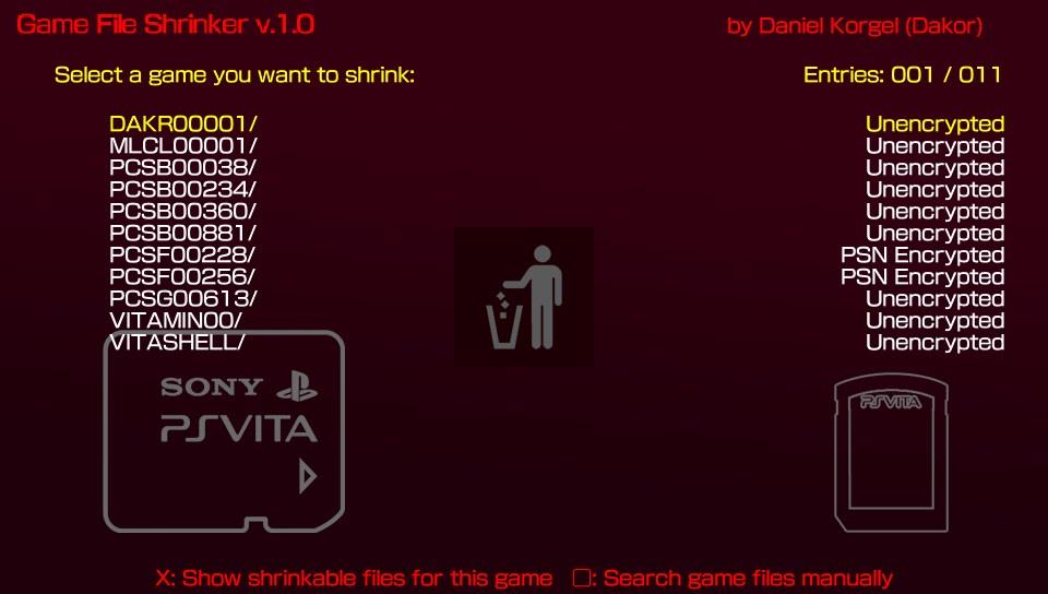Game Shrinker - уменьшает игры PSVita в размере