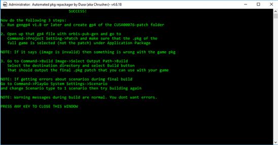 PS4 PKG Repackager встроит любое обновление в любой PKG
